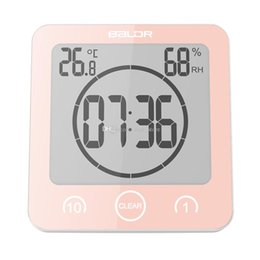 Wholesale wholesale wall clocks - New Digital Waterproof Shower Wall Stand Clock Humidity Temperature Timer Humidity Temperature 1 Minute 10 Minute Timer Strong Suction