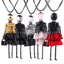 Wholesale Doll Necklaces - Fashion Women Crystal Unique Cute Doll Girl Pendant Long Chain Sweater Statement Necklace Jewelry Gift