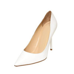 Wholesale Cheap Ballet High Heels - Simple White Pointed Toe Weddin Shoes Women Pumps Slip-ons OL Work Dress Shoes High Heels Stilettos Bridal Accessories Cheap US14 Available