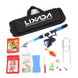 Wholesale Lure Kits - Rods Lixada Telescopic Fishing Rod Reel Combo Full Kit Spinning Reel Pole Set With Fishing Scissors Hook Lures Carrier Bag