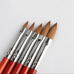 5 шт Соболя kolinsky акриловых ногтей кисть no. 2/4/6/8/10 УФ-гель резьба ручка кисть жидкость порошок DIY красоты лак для рисования от