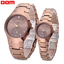 Wholesale Dom Tungsten - Free Shipping Brand DOM Couple Quartz Watch Tungsten Steel Band Sapphire Mirror 20ATM Wristwatch For Lovers