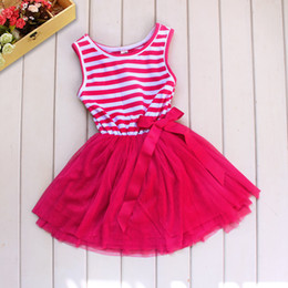 Wholesale Dress Baby Lace Retail - Fashion Baby Girl Tutu Dress Pink Striped Lace And Cotton Princess Vestido Clothes Kids Clothing Retail
