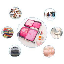 Wholesale Double Bedding Sets - 6pcs set Fashion Double Zipper Waterproof Travelling Bags Men Women Nylon Luggage Packing Cube Bag Underware Bra Storage Bag Organizer