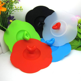 Wholesale Silicone Capped Cup Mugs - DHL Shipping Free Eco-Friendly Creative Lovely Heart Watertight Silicone Cup Lid Suction Cover Mug Cap leakproof for Coffee and Tea Cup