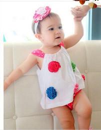 Wholesale Baby Bloomer Dress - Lowest Price summer girl 2 piece sets girl slip dress big flower dress + baby bloomers pants 6pc lot