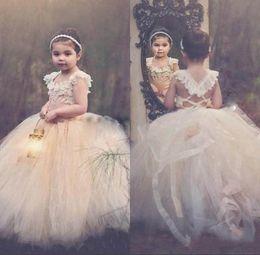 Wholesale Toddler Girls Flower Design Dress - 2016 Wonderful Design Flower Girl Dresses For Weddings Sleeveless Lace Appliques Neck Lace Up Back Puffy Tulle Communion Dresses