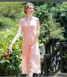 Vestidos de color naranja rosa caliente online-2016 Otoño Nueva Moda Bordado Sólido Naranja Rosa Vestido Largo de Gasa Irregular Hot Top Seda O cuello Holiday Lady Vestido de noche completo