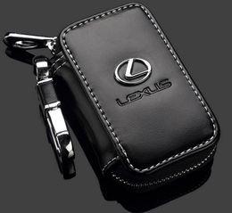 Wholesale Leather Key Cases - Lexus Key Case Premium Leather Car Key Chains Holder Zipper Remote Wallet Bag for Lexus key cover accessories Car keys Bag