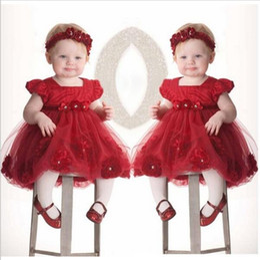 Wholesale Bebe Gown - Flower girls dresses for party wedding babies infant toddler red rose princess dress+headwear vestido de festa para bebe