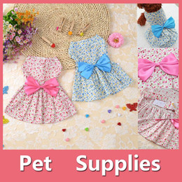 Wholesale Blue Flower Hair - Lovely Small Pet Dog Dress Tutu Skirt Coat Cat Puppy Cute Little Flower Clothes Apparel Clothing Blue Pink