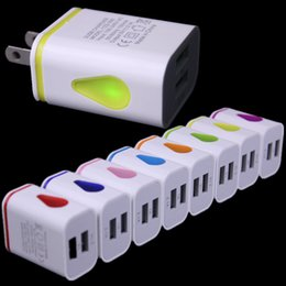 2019 adaptador de corrente alternada para apple Light Up Water-drop LED Portas USB Dual Home Adaptador De Viagem De Viagem 5 V 2.1A + 1A AC EUA Plug UE Carregador De Parede Para iPhone Samsung HTC LG Tablet desconto adaptador de corrente alternada para apple