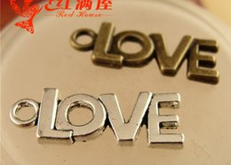 Wholesale Mobile Phone Dangle Charms - A2252 21*8MM Antique Bronze plated Retro letters Love word dangle charm pendant beads mobile phone accessories DIY vintage charm China