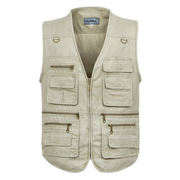 джинсовые жилеты Скидка Fall-2016 New Mens Outdoor Multi Pocket Vest Khaki Army Casual Sleeveless Jeans Jacket Waistcoat Plus Size 5XL P3020
