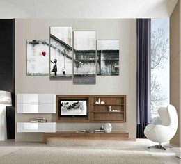 Wholesale banksy oil paintings - 4pcs modern home wall decorative banksy there is always hope Wall Art Picture printed oil Painting on Canvas art prints