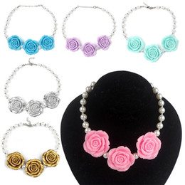 Wholesale girls pearls chunky necklace - PrettyBaby Chunky Necklace kids princess pearl Necklace Acrylic rose flower necklace set women and girl Jewelry Photo Prop 8 colors