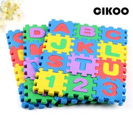 Wholesale Eva Puzzle Carpet - Wholesale- CIKOO alphabet letter toys Kids baby puzzle mats 60MM x 60MM carpet babies 36PCS Language foam learning toy