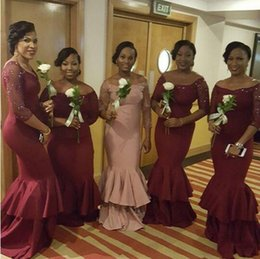 Wholesale Designs For Satin Dresses - 2016 New Design Bridesmaid Dresses Long Sleeves Portrait Mermaid Evening Gowns For Wedding Maid Of Honor Dresses Africa Wear Plus Size
