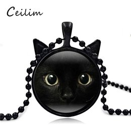 Wholesale Cat Ear Glasses - Retro 3D Black Cat Face Long Necklace Pendant Cat Ear Glass Charm Gift For Women Or Men Jewelry Fit Sweater 2017 Fashion