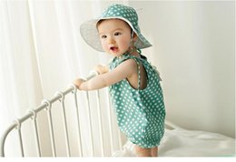 Wholesale Wholesale Satin Rompers - Cute Polka Dots Romper in Summer Baby Clothes Easy Baby romper Satin Girls Bubble Rompers BH2074