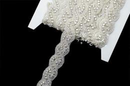 Wholesale Bridal Rhinestone Beaded Trim - 1 Yard crystal rhinestone beaded trim applique Iron on bridal costume sew on A8016