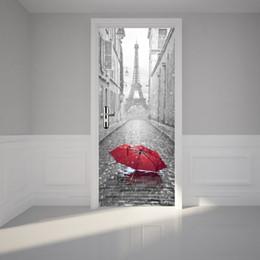 Wholesale Large Paris Art - 6styles 3D Door Sticker DIY Mural Imitation Paris Eiffel Tower Waterproof Self Adhesive Door Stickers Bedroom Home Decor PVC Wallpaper