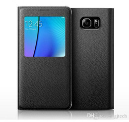 Wholesale S4 View Battery Case - Samsung Galaxy S4 S5 S6 S7 Edge Plus Smart View Auto Sleep Wake Battery Housing Cases Note 3 4 5 A7 Open Window Genuine PU Leather Cover Bag