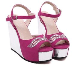 Wholesale Wedge Prom Heels - Wedding Fuchsia Sparkly Glitter Gold Prom Dress Heels Ankle Strap Wedge Heel Sandals Size 34 - 40 41