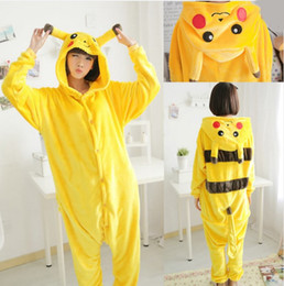 Wholesale Pikachu Onesies - Poke mon Pikachu onesies Cosplay Animal Hoodie Sleepwear Pajamas Adult Yellow Unisex Pikachu Onesie Cosplay Costume Pikachu Pajamas