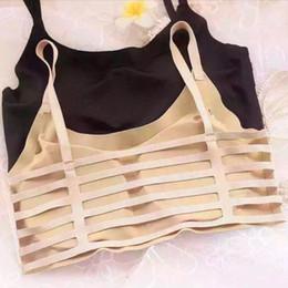 Wholesale Chest Vest Bra - Wholesale-Summer Women Seamless Crop Top Underwear Hollow Bandage Push Up Tank Top Cotton Vest Bra Chest Padded Bralette Tops Camisole