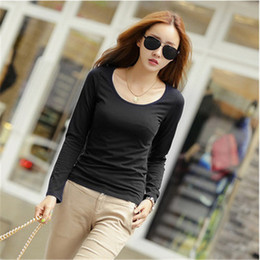 Wholesale S Advanced - Korea tide women Spring Autumn Scoop Neck red green Solid Color Long Sleeve Tshirt advanced Rayon synthetic fiber lady slim casual tops
