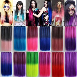 Wholesale Highlighted Remy Hair - Colorful Hair Straight Long Clip in hair Extensions Highlight Colored Hair Ombre Clip on Synthetic Hair Extensions Assorted Colors Optional
