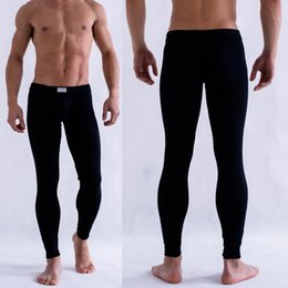 Wholesale Thermal Shirt Long Sleeves - Wholesale-Cheap&High Quality Men's Solid Color Underpants Long Johns Pants Thermal Low Rise Warm Underwear M L XL TQ