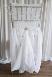 Wholesale Chiffon Chair Sashes - Wedding Chair Covers White Elastic Lace and Chiffon With Crystals Chair Dresses Chair Sashes Party Banquet Chair Covers Wedding Accessories