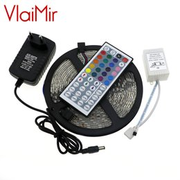 Wholesale Neon Stripe - Wholesale- RGB LED Strip 5050 IP65 Waterproof 5M 60Led M DC 12V Fita Led String Stripe Bar Neon Bombillas Led Lamp+12V 2A Power Adapter