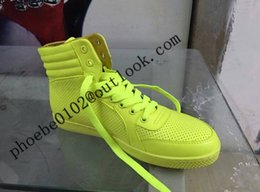 Wholesale Neon High Tops Shoes - Spring Neon High Top Sneakers For Women &Men Fashion Breathable Light Lovers Casual Flats Designer G Casual Shoes