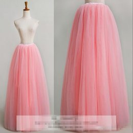 Wholesale Adult Sexy Tutu Skirts - quinceanera Pink Long Tutu Skirt 2016 Beach Street Fashion Adult Women Cheap Skirt Plus Size Maxi Tulle Formal Party Tutu Skirt For Girls