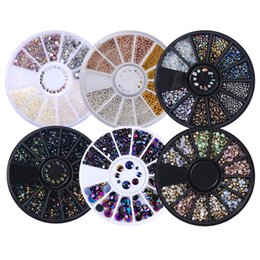 Wholesale Wheel Nail Art - Wholesale- 1 Box 3D Nail Art Rhinestones Glitters Acrylic Rhinestones for nails Manicure Nail Art Decoration In Wheel free shipping