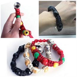 Wholesale Black Bracelets For Women - New Portable Metal Bracelet Smoke Smoking Pipe Jamaica Rasta Pipe 3 Colors Gift for both man and women c072