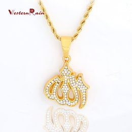 Wholesale Twisted Chain Necklaces For Women - WesternRain Muslim totem pendant and transparent diamond jewelry necklace for men and women long necklace statement 45CM  75CM Necklace F813