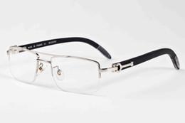 Wholesale rectangular sunglasses - 2017 new arrival brand designer sunglasses buffalo horn glasses for men women wood sunglasses semi rimless clear rectangular lens