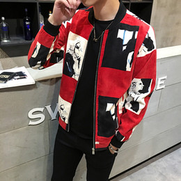 Wholesale red corduroy jacket - 2017 Men's Fall New Cashmere Jacket Corduroy Personality Print Large Size Collar Fashion Casual Jacket 5 Colors Available