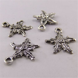 Wholesale Earring Findings Charms - 60PCS Antique Silver Earring Pendant Starfish Finding 18*18MM jewelry making