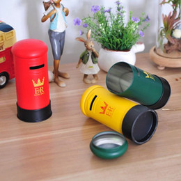 Wholesale money tins - Three Colors Money Box Vintage Mailbox Piggy Bank Round Tin Plate Saving Boxes For Home Decor 5 1ok B R