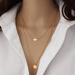 Wholesale Handmade Jewelry Sale - Wholesale- New Fashion Handmade Jewelry Summer Simple Wild Lady Double Peace Pigeon Gold Necklace Wholesale Sales