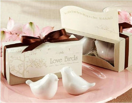 Argentina Creative Lovebirds sal y pimienta coctelera favores de la boda regalos (juego de 2) tema romántico embalaje de regalo 40 unids / lote Suministro