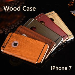 Wholesale Iphone Wood Leather Case - for iphone 7 3 In 1 Shockproof Back Cover Wood Wooden Plating Luxury Frosted Armor Case For Iphone 7 6 6s plus DHL Free