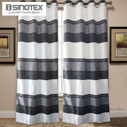 Wholesale Black White Curtain Panels - Window Curtain Panel 140*220cm 55*86.6'' Polyester Drapes for Living Room Bedroom Hook Striped Black&White 1 PCS Lot