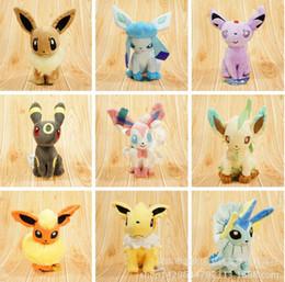 Wholesale Pokemon Sylveon Figure - 9pcs lot 20cm Poke Plush toys Jolteon Umbreon Flareon Eevee Espeon Vaporeon Sylveon Glaceon Kids gifts