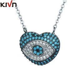 Wholesale Hamsa Heart Necklace - KIVN Fashion Jewelry Heart Spiritual Cubic Zirconia Turkish Evil Eye Hamsa Womens Girls Pendant Necklaces Promotion Birthday Gifts